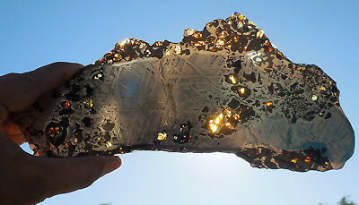 417 gram SEYMCHAN METEORITE pallasite - BEAUTIFUL CRYSTALS under $6 per gram!
