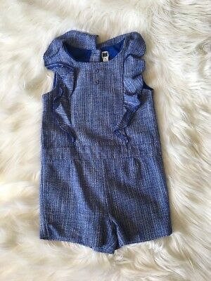 Janie And Jack Little Girls Size 5 Romper Easter 2016 Blue Tweed Ruffle Chest