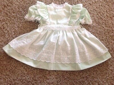 Vintage Bryan Baby Girl Toddler Pinafore Apron Dress Green Children Clothes lace
