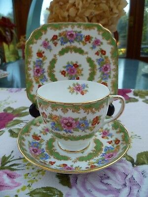 Pretty Vintage Old Royal China Trio Tea Cup Saucer Sampson & Smith Green Floral