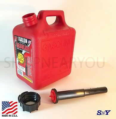 MIDWEST CAN COMPANY 1 Gallon 4oz. CARB Gas Can Canister LONG NECK SPOUT
