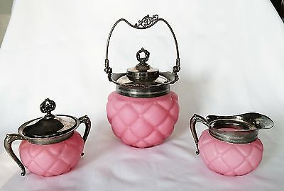 Pink Peachblow Quilted Satin Pewter Consolidated Glass Cream Sugar Biscuit Bowl