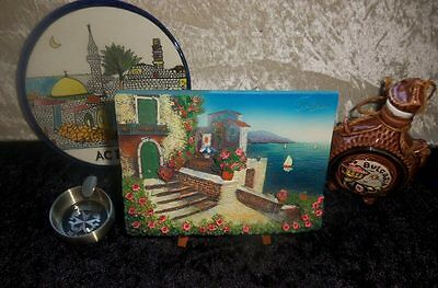 Lot of Balkan and Mediterranean souvenirs–3D Picture Ashtray Hanging Plate Jar