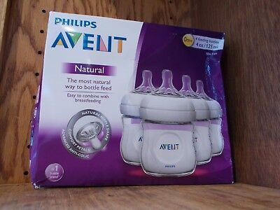Philips AVENT Natural Bottle, Clear, 4oz, 4ct