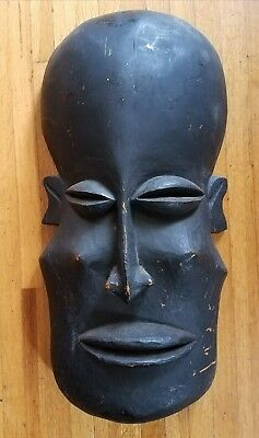 Very large carved wood decorative primitive African mask, wall art, sculpture