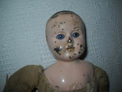 "12"" Antique Germany Minerva Tin Head Doll with Glass Eyes+ Cloth body+ Teeth"