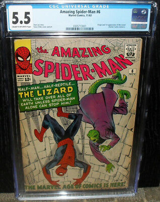 Amazing Spider-Man 6 Cgc 5.5 First Lizard Lee Ditko Silver-Age Marvel 1963