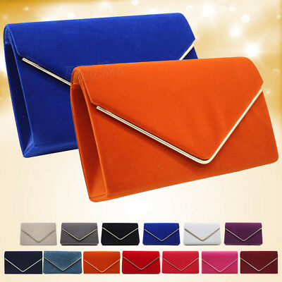 Womens Faux Suede Clutch Bag Ladies Bridal Evening Party Purse Wedding Handbag