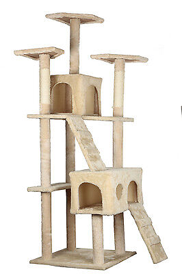 """73"""" Cat Tree Scratcher Play House Condo Furniture Bed Post Pet House Color Beige"""
