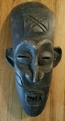Primitive wooden carved African mask, Sculpture, Wall art  12 x 6