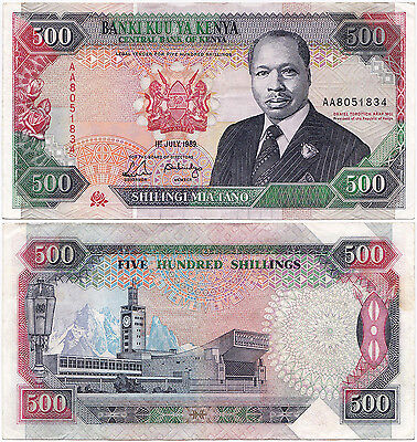 Kenya, 500 Shillings 1989, Pick 30b, VF+