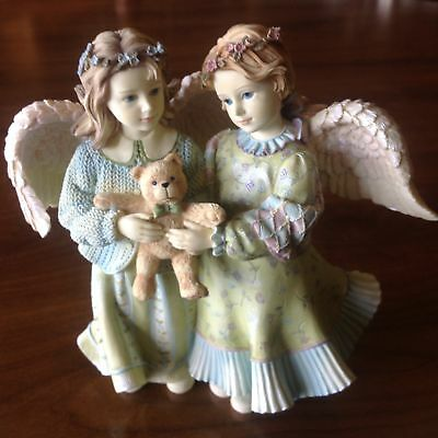 Betty Singer Friend Angels Girls Embracing and Holding Teddy Bear BS1026 No Box