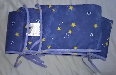 Baby Crib Bumper Pad, Blue with Stars EUC