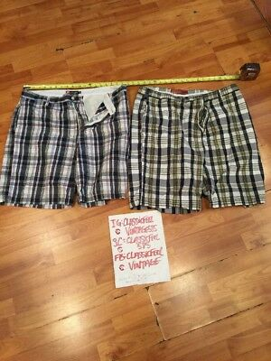 Chaps Men's Blue Plaid Shorts Size 38 And Perry Ellis Sz 38 Lot Of Two