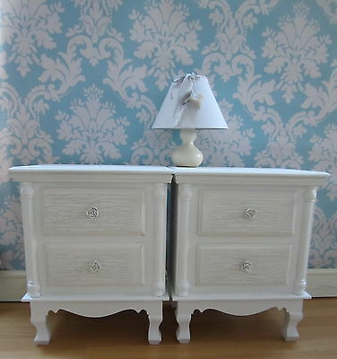 Pair White Shabby Chic Bedside Cabinets French Style 2 Drawer Bedroom Furniture