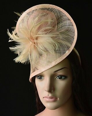 Nude Blush Sinamay Swirl Hat Fascinator Feathers Races Wedding Millinery