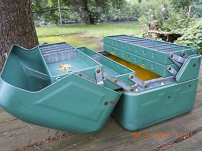 My Buddy Tacklemaster Green Steel #416 Hip Roof Tackle Box 4 Trays 20Compartment