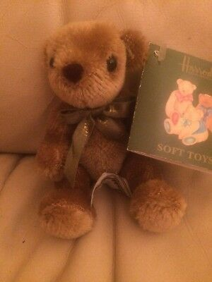 """Harrods Original Bear With Green Branded Ribbon  & Tags, 7"""" From 2002"""