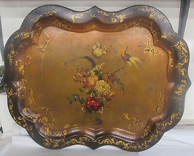 Antique Chippendale Style Paper Mache Serving Tray Circa 1840 Highly Decorative