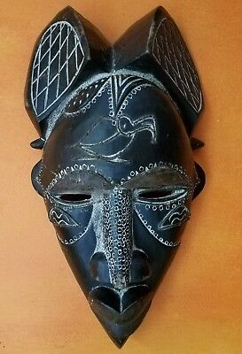 newer African carved wood mixed media face mask, decorative, wall art, sculpture