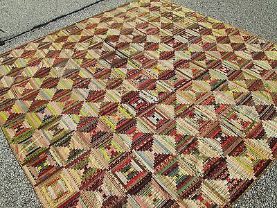 LOG CABIN QUILT_3600 PIECES_ANTIQUE 1860s RARE FIND SHREWSBURY MUSEUM COLLECTION