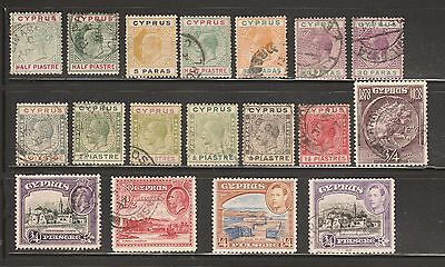CYPRUS 1894-1938 -18 STAMPS -incl 1/2 Piastre QVic, 1938  KGV1- 1/4 Piastre  MH