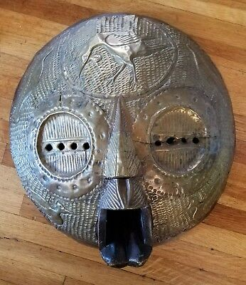 African Mask Carved wood brass overlay Ghana.  Large round. wall art, sculpture