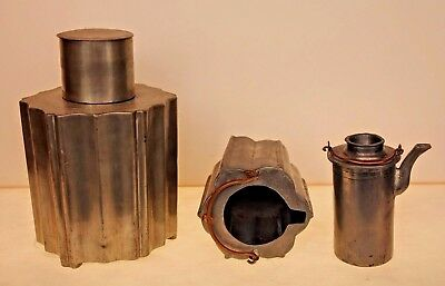 Chinese Antique Early Pewter Metal Teapot Tea Caddy  Marked