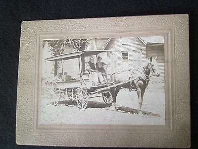 Antique Horse and Wagon Photo 6/30/1908   Name Bennett on Back of Photo