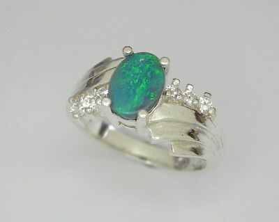 Opal Silver ring, Genuine Solid Lightning Ridge Australian opal.