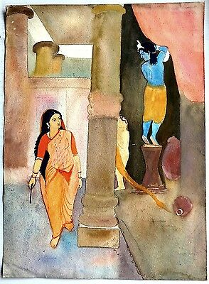 """India Krishna stealing curd vintage watercolor painting 11""""x15"""""""