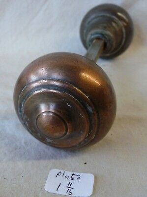 "Door Knobs (pair) Copper plated over steel 1 13/16"" dia  Antique"