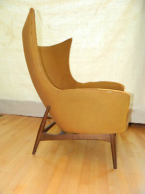 VINTAGE DANISH MID CENTURY WINGBACK CHAIR, H.W. KLEIN for BRAMIN,