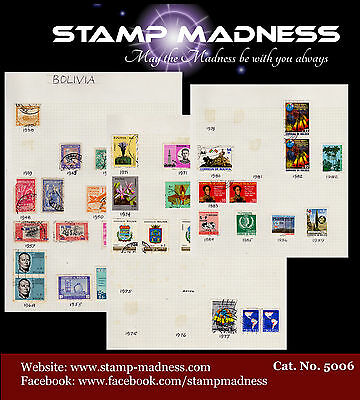 BOLIVIA Collection 1938 - 1989 Stamps are hinged on sheet bulk estate buy