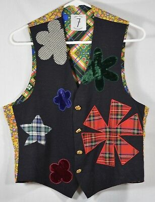 TODD OLDHAM Times Seven 7 Sz S Vest 90s True Vtg Brass Buttons Rayon Silk EUC