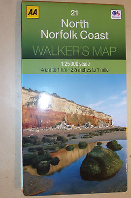 "HUGE AA FOLD-OUT NORTH NORFOLK COAST WALKER'S MAP 1:25'000 4cm:1Km 2.5"":1m NEW"
