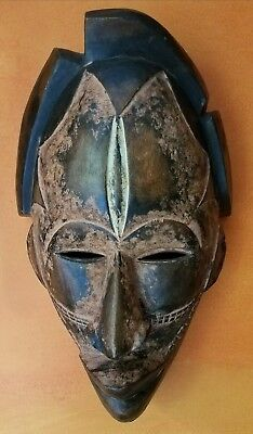 African face mask, carved wood, wall art, sculpture, ethnic 16 x 10