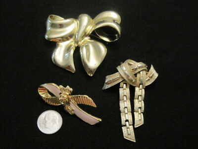 Lot of Three Vintage to Now Bow or Ribbon Pin Brooches Signed Avon and Coro