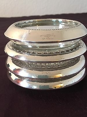 SET OF 4 Vintage STERLING SILVER & CRYSTAL COASTERS - Mixed Lot