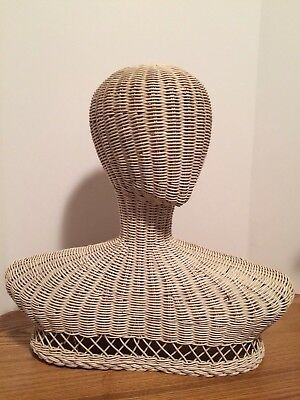 "Vintage Head Display Wicker Mannequin 17"" Tall Rare Style"