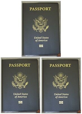 USA Quality Fast Ship 3x Passport Matte Clear Vinyl Cover Protector Holder