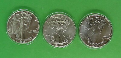 1988, 1990, 2017 American Silver Eagle 1 oz 999 Silver Coins in Capsules