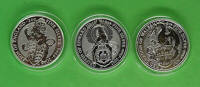Queens Beast Lion, Dragon & Griffin 2 oz 999 Fine Silver Coins in Capsules