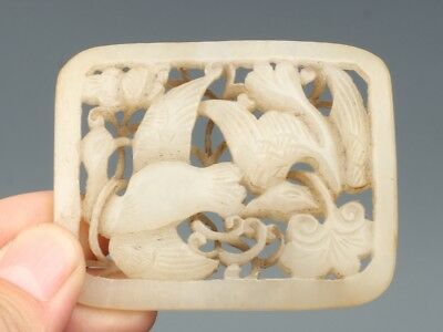 China Exquisite Hand-Carved Flowers and birds carving Hetian Jade Pendant