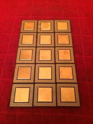 15 Rare Industrial Double Side Processor Scrap Gold CPU Recovery Vintage Collect