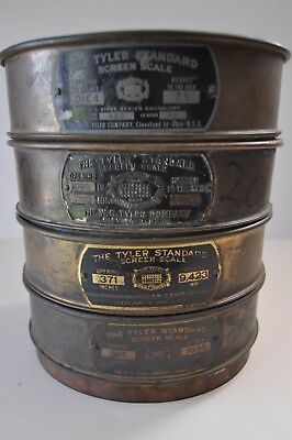 """Set of Four 8"""" USA Standard Vintage Tyler Brass Sieves, Used"""