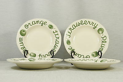 """LOT of 4 Wood & Sons Country Green 9"""" Rimmed Soup or Pasta Bowls EXC + !"""