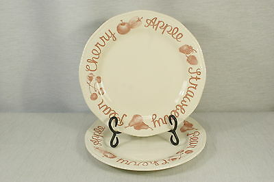 """LOT of 2 Wood & Sons Country CRANBERRY 11"""" Dinner Plates, EXC + !"""