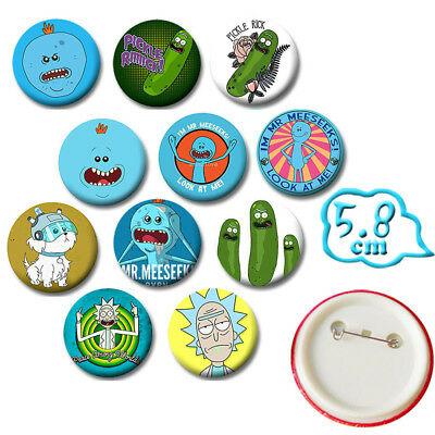 2pcs//set White+Green Pickle Ricke and Morti PVC Badges Button Brooch Chest Pin