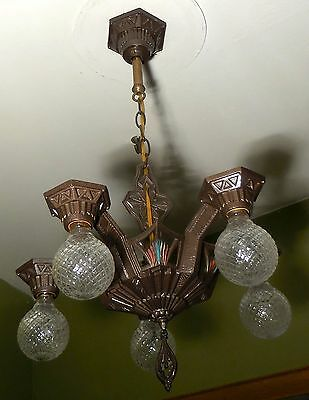1934 Antique Vintage  Cast Iron Art Deco Ceiling Light Fixture Chandelier Sears